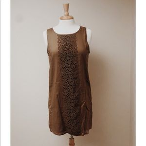 [J. Crew]Sand Color Embroidered Panel Linen Dress